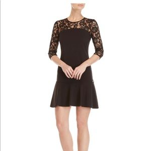 Gaudi Black Lace Flounce Sheath Dress